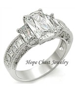 WOMEN'S SILVER TONE THREE STONE RADIANT CUT AAA CZ ENGAGEMENT RING SIZE ... - $25.64