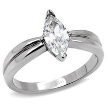 Stainless Steel Cubic Zirconia Marquise Shape Engagement Ring - SIZE 6, 8 - $11.12