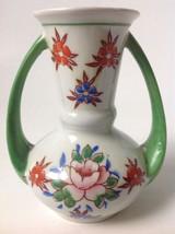Vtg Mid Century Lusterware Vase Hand Painted Floral Double Handles Japan... - $29.95