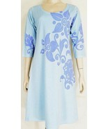 Before & Again dress blue SZ M 3/4 sleeve A-line cotton blend USA - $29.69