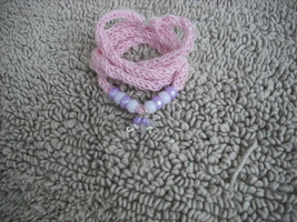 Pink-Knitted I-cord Wrap Bracelet or Necklace 2 in 1 with Purple/White B... - $13.99