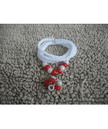 White-Knitted I-cord Wrap Bracelet or Necklace 2 in 1 with Red/White Bea... - $13.99