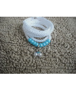 White-Knitted I-cord Wrap Bracelet or Necklace 2 in 1 with Blue Beads an... - $13.99