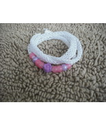 White-Knitted I-cord Wrap BraceletorNecklace 2in1 with Pink,Purple,Flowe... - $13.99
