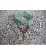 Green-Knitted I-cord Wrap Bracelet or Necklace 2 in1 with Green,Red Beads. - $16.00
