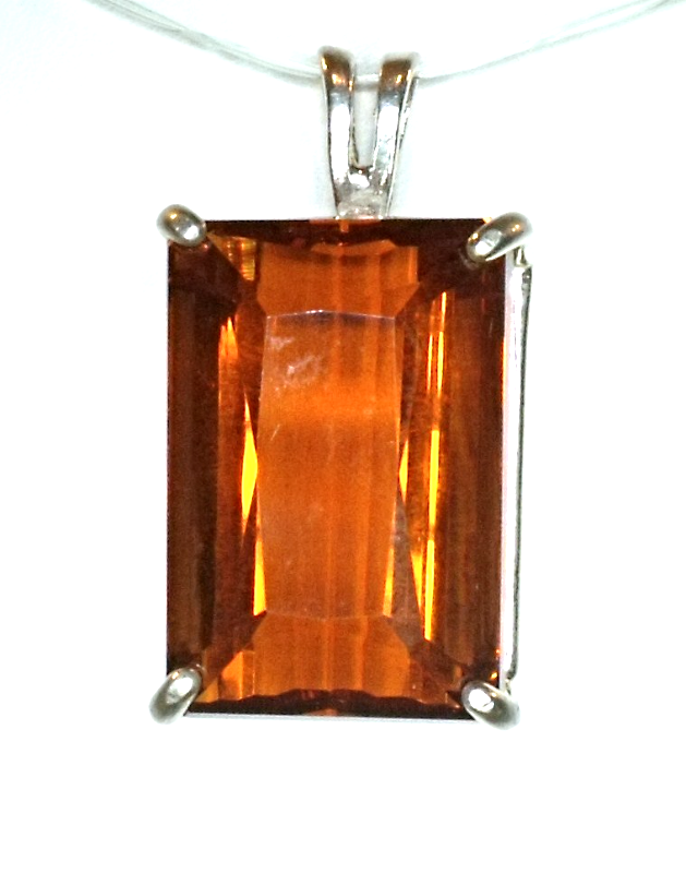 Emerald Cut Madierra Citrine / Sterling Silver Pendant from KT Elegant Jewelry - $89.95