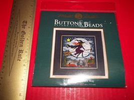 Craft Holiday Mill Hill Kit Button Bead Witch Way Halloween Counted Cross Stitch - $14.24