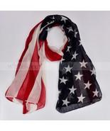 "80"" Long Vintage American Flag Print Scarf Warp Shawl Star Stripe Red Bl... - $7.87"