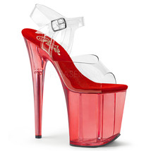 "Sexy Stripper Dancer 8"" High Heel Red Tinted Platform Ankle Strap Shoes ... - $59.95"