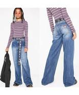 New Dickies Girl X Dolls Kill 9 29 High Waist Dark Belted Wide Leg Skate... - $69.29