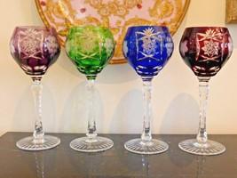 AJKA MARSALA CUT TO CLEAR CRYSTAL MULTICOLOR WINE GOBLET GLASSES SET OF 4 - $199.00