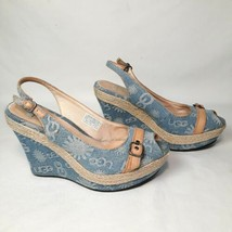 Ugg Noella Signature Platform Sling back Wedge Sandal Light Blue Denim 8.5 - $33.66