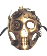 Steampunk Skeleton Skull Gold Halloween Masquerade Mask - £20.05 GBP
