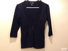 H&M Women's Black 3/4 Sleeve V-Neck Cardigan Sz M