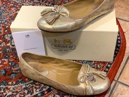 COACH DAHLILA BALLERINA GOLD LEATHER BALLET FLAT 9.5 M SLIP ON TASSLE BO... - $38.25