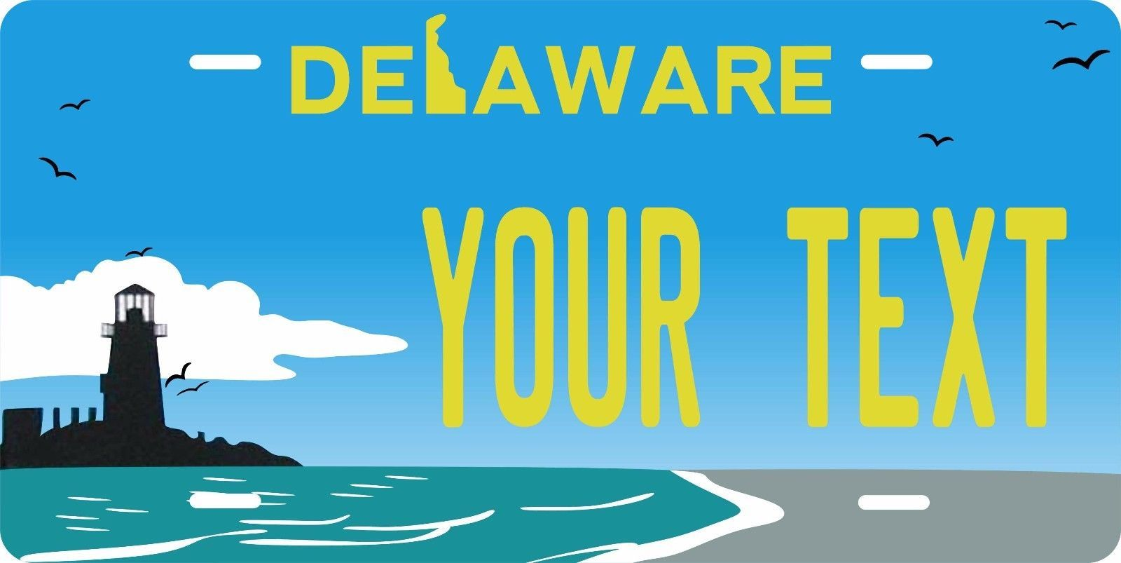 Delaware Light License Plate Personalized Custom Auto Bike Motorcycle Moped Tag