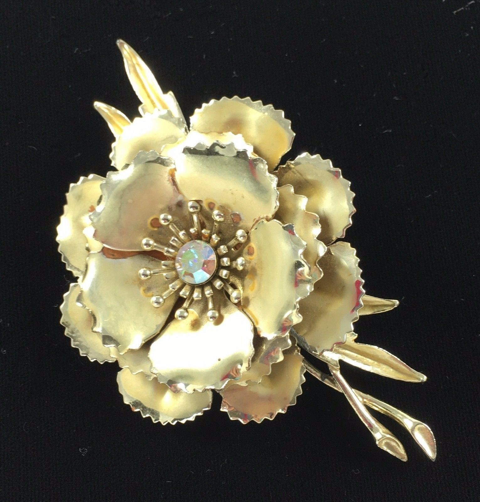 Statement Coro Pin Brooch Signed Flower AB Gold Toned Wedding Bridal Gift Vtg image 3