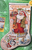 Bucilla Fishing Santa Christmas Holiday Cross Stitch Stocking Kit 84355 84100 - $88.95