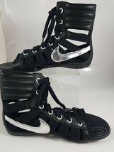 NIKE WOMEN'S SANDALS GLADIATEUR II Leather BLACK/METALLIC SILVER 429881 003 image 7