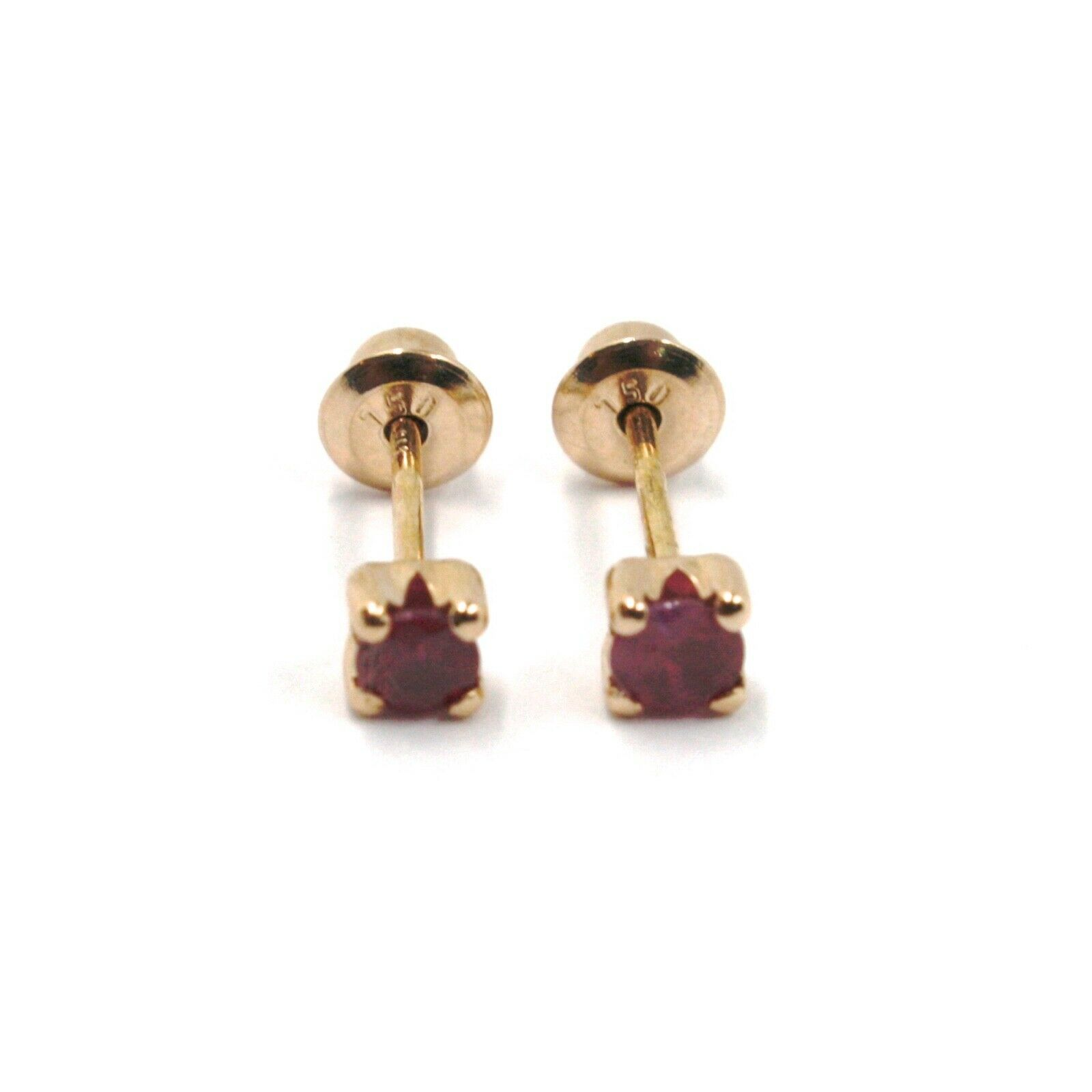 18K ROSE GOLD MINI EARRINGS WITH ROUND RED RUBY, DIAMETER 3 MM