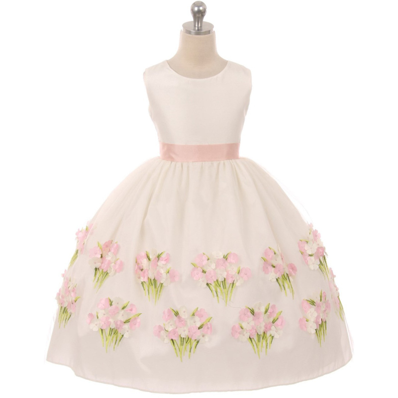 Burgundy Sleeveless Flower Girl Dress with Arise Floral  on the Bottom hem