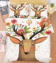 3D Deer Flowers Bed Pillowcases Quilt Duvet Cover Set Single Queen King Size AU - $90.04+