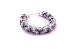 Beads crochet rope bracelet with geometric pattern, beaded bracelet for... - $30.00
