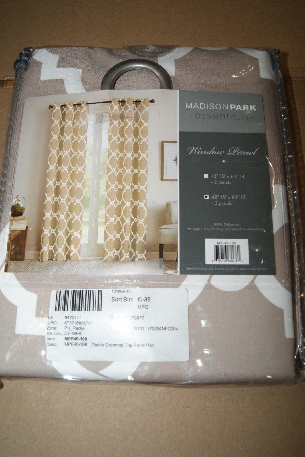 Madison Park Diablo Merritt Grommet Tan Geometric Window Panels Pair 84'L New - $26.60