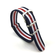 20mm X 255mm Nato Canvas Nylon wrist watch Band strap RED WHITE BLUE RII - $14.22