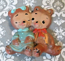 Vintage Boy and Girl Teddy Bears Cuddling Ceramic Christmas Ornament - $3.15