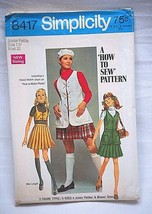 Vintage 60s Simplicity Sewing Pattern 8417 Jr. Petite Skirt Bolero Vest ... - $6.92