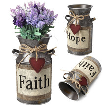 Garden Rustic Vintage Shabby Metal Flower Pot Wedding Flower Vase Plant ... - $18.30