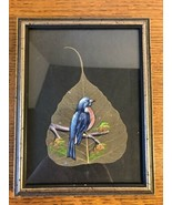 Vintage Framed Beautifully Hand Painted Bluebird on a Leaf - $15.19