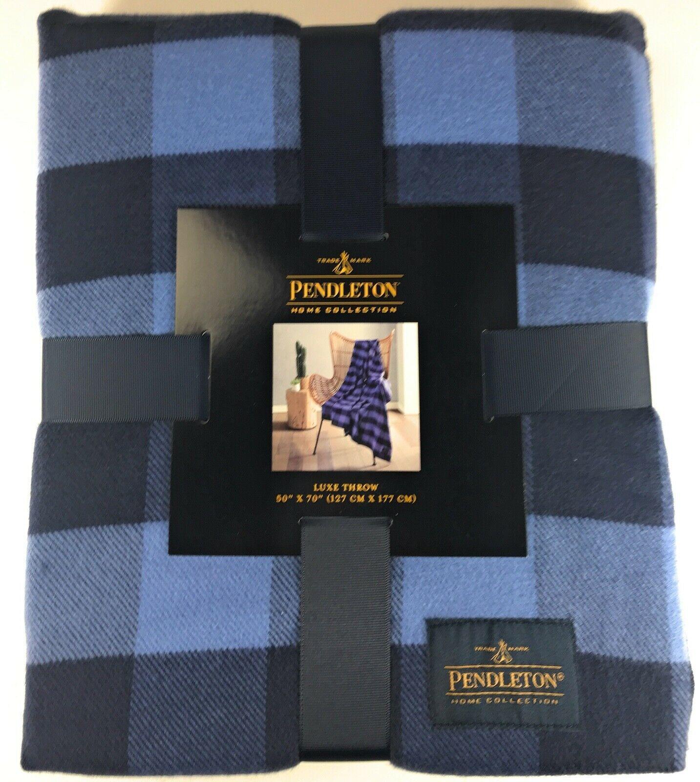 """Pendleton Rob Roy Luxe 100% Polyester 50""""x70"""" Throw Blanket Blue Plaid NWT image 2"""