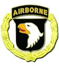 US Army 101st Airborne Division with Wreath Pin - $4.94