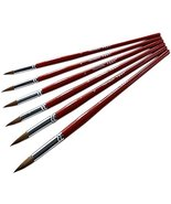 6-Sizes Soft Wolf Hair Round Paintbrushes Red Pen Shaft Watercolor Paint... - $27.19