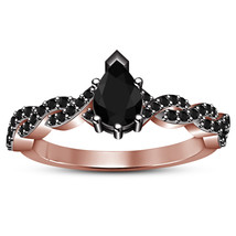 Pear Shape Black CZ Engagement Anniversary Ring 14k Rose Gold Plated 925 Silver - $78.14