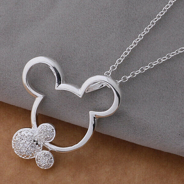 Primary image for Double Mickey Pendant Necklace 925 Sterling Silver NEW