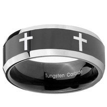 Crosses 8mm Two Tone Black Beveled Tungsten Carbide Ring - $39.99