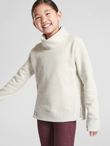 ATHLETA GIRL Inner Strength Funnel Neck Sweatshirt White Heather XL  - $28.91