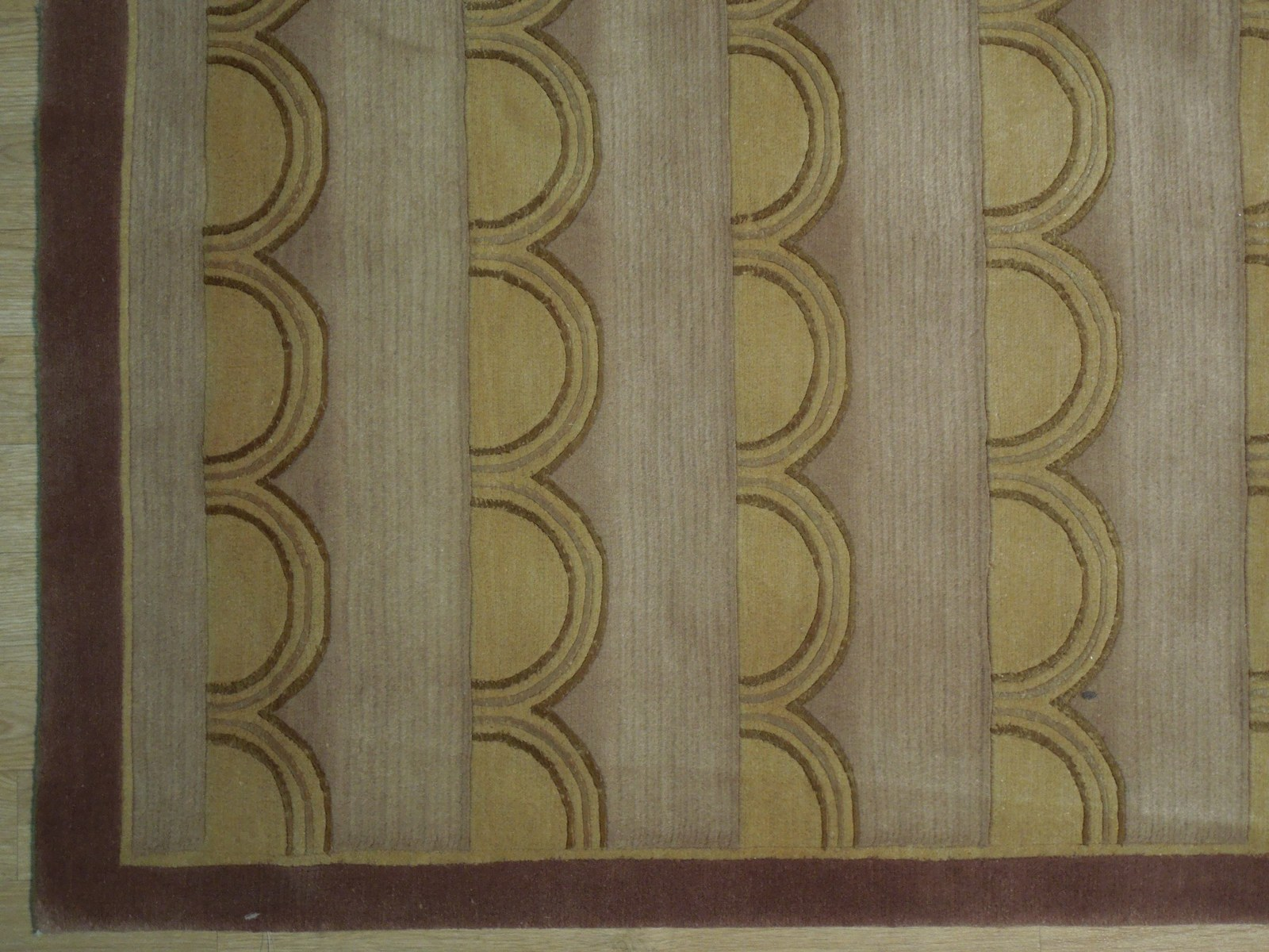 Beige Rug 5 x 8 Wool & Silk Centered Waves Nepalese Hand-Knotted Rug image 6