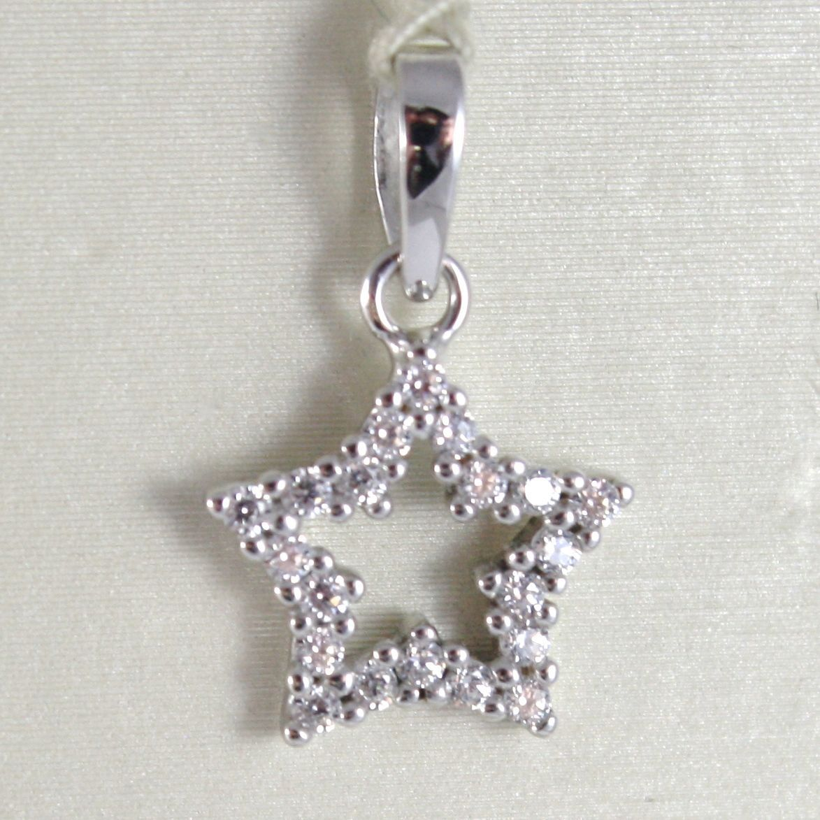 WHITE GOLD PENDANT 750 18K, STELLA, LONG 1.7 CM, WITH ZIRCON, MADE IN ITALY