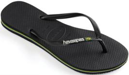 Havaianas Slim Brazil Logo Black Women's Flip Flop Sandals 4140713 - $27.53