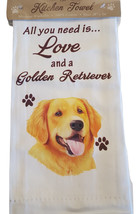 Golden Retriever Kitchen Dish Towel  Dog Theme All You Need Is Love Cott... - $11.49