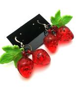 Double Strawberries Plastic Charm Earrings VLV Rockabilly Punk Pierced USA - $5.99