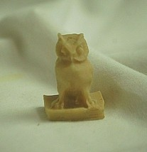 Vintage Mini Resin Owl Bird Figurine Sitting on Book Shadowbox Decor - $6.92