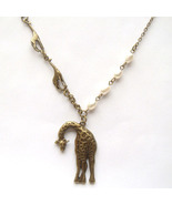 Antiqued Brass Giraffe Pearl Necklace Handmade ... - $12.99