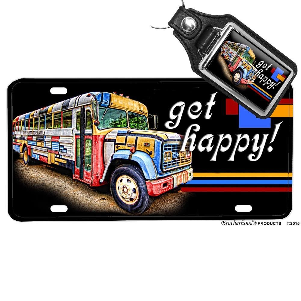 Primary image for The Partridge Family Bus Come On Get Happy License Plate Opt. Matching Key Ring