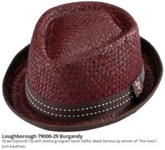 WhoCed Loughborough Diamond Tip Raffia Straw Fedora Dotted Band Burgundy... - $47.00