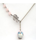 Antiqued Brass Branch Rose Quartz Porcelain Owl... - $13.99